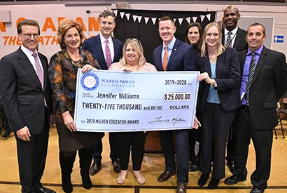 Surprise! Adams Middle English Teacher Jennifer Williams Receives  $25,000 Milken Educator Award