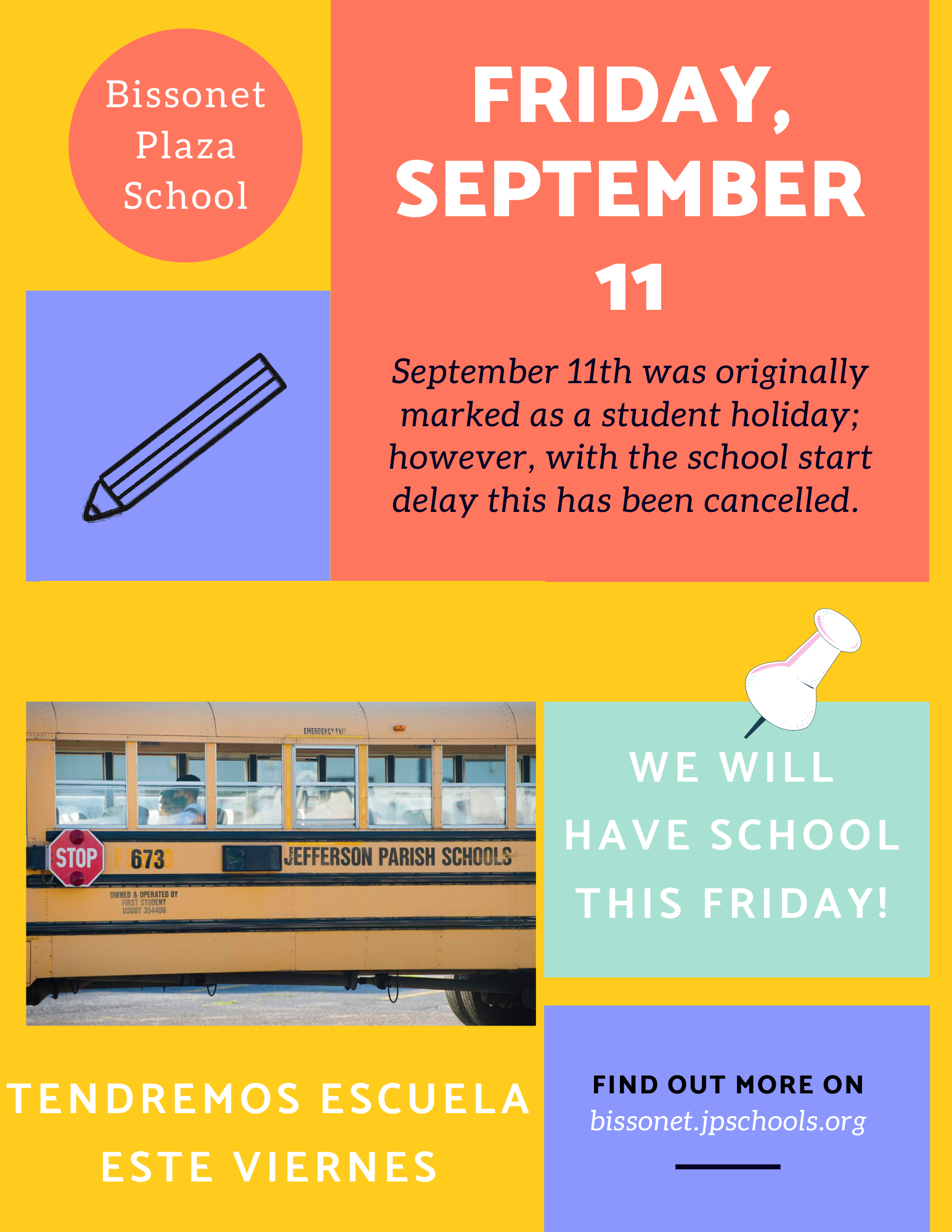 School Calendar Change: School September 11