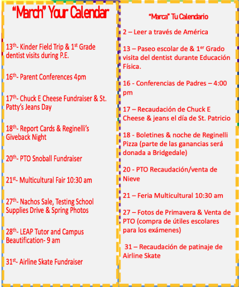 March Newsletter/Boletín de marzo