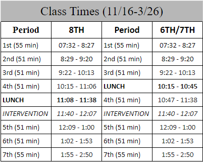 REVISED BELL SCHEDULE