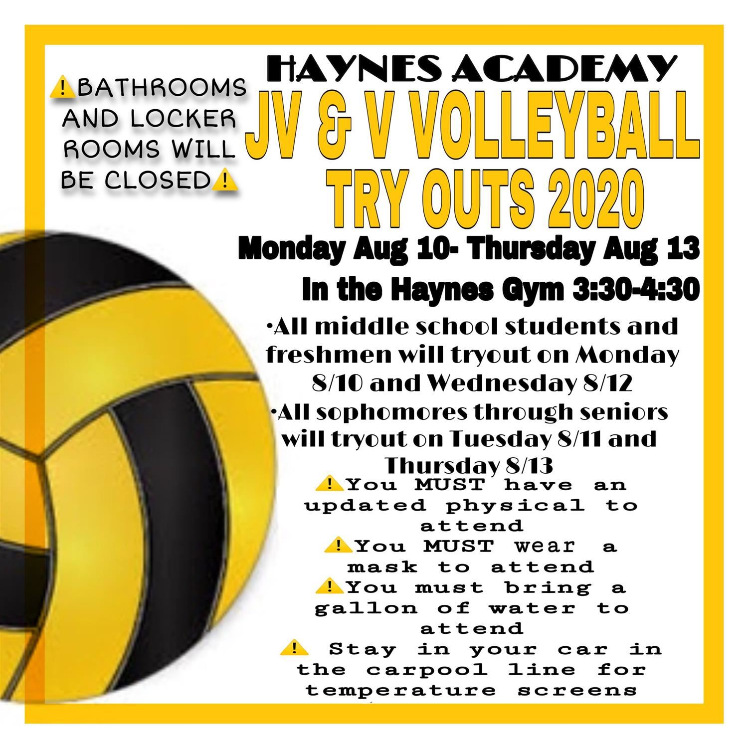 Volleyball Practice Everyday in Haynes Gym (3:00-5:00pm)