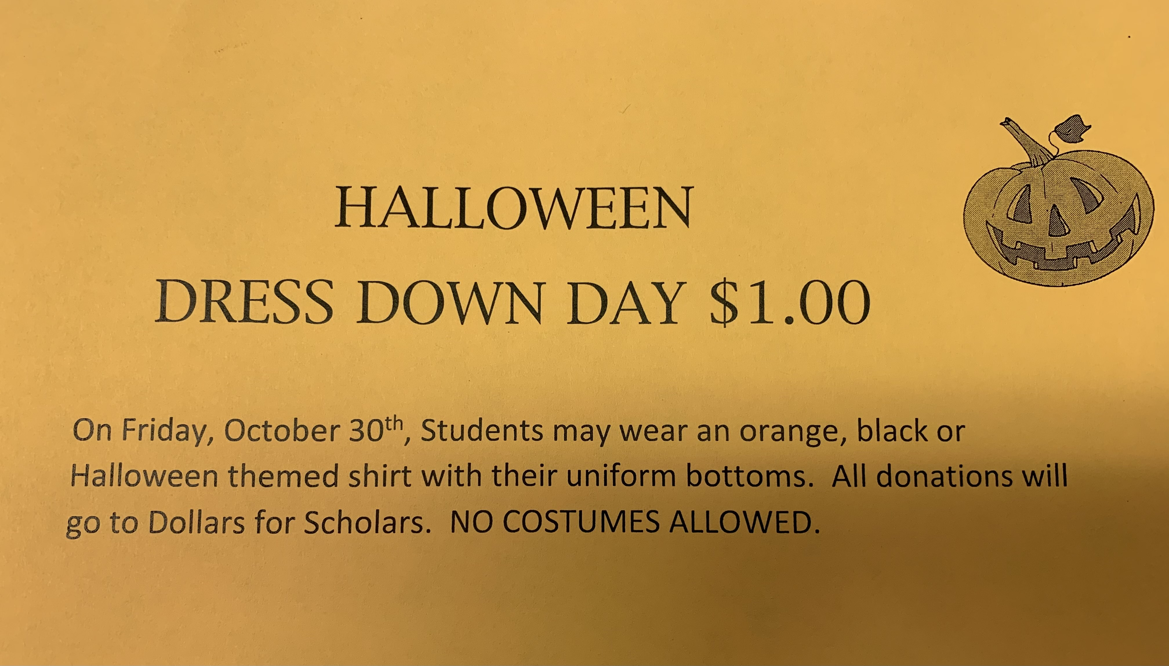 Dress Down Day 10/30