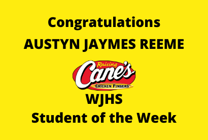 Raising Cane's WJHS Student of the Week Austyn James Reeme