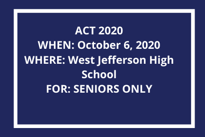 ACT 2020 October 6, 2020 FOR SENIORS ONLY