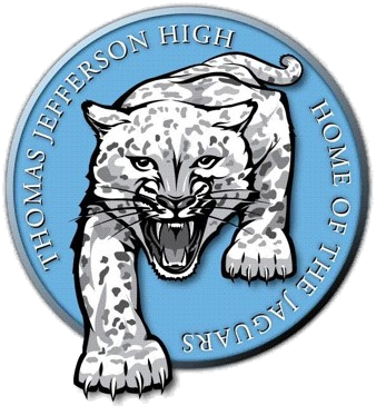 Thomas Jefferson Logo with black and white jaguar in center of a california blue background