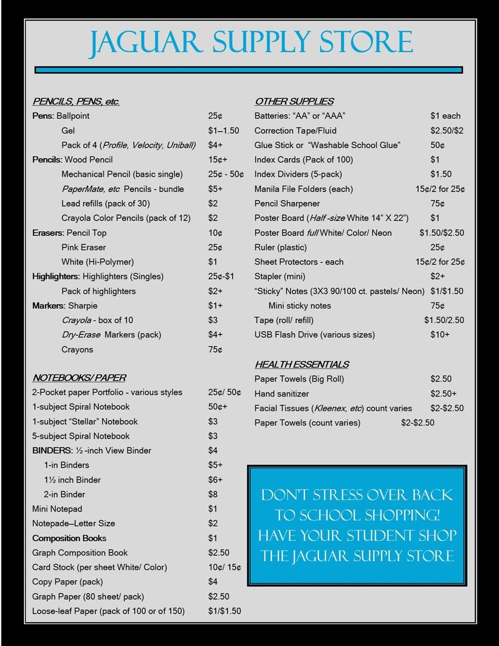 Price List for Jaguar Supply Store